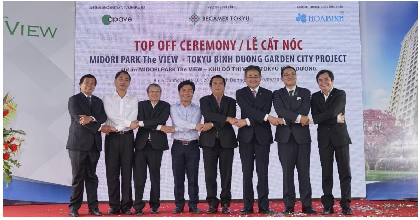 The second luxury apartment building project in Binh Duong New City, MIDORI PARK The VIEW, topping off ceremony at the project site